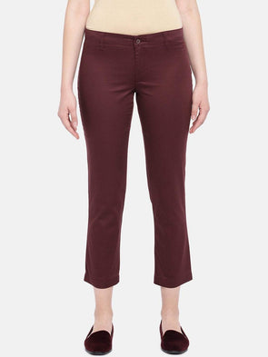 Women's Cotton Lycra Maroon Regular Fit Pants Cottonworld Women's Pants