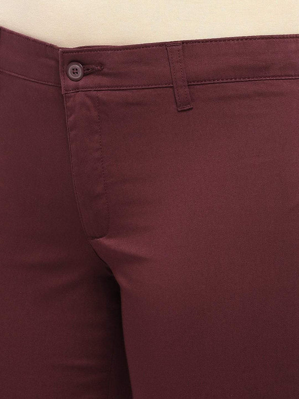 Cottonworld Women's Pants Women's Cotton Lycra Maroon Regular Fit Pants