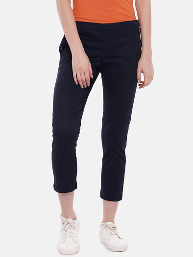 Cottonworld Women's Pants Women's Cotton Lycra Navy Regular Fit Pants