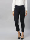 Women's Cotton  Lycra Navy Regular Fit Pants Cottonworld Women's Pants