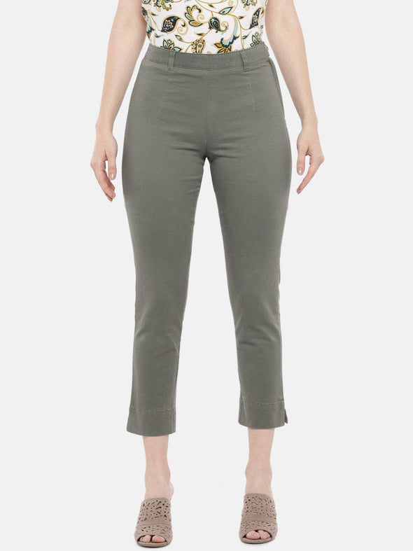 Women's Cotton Lycra Olive Regular Fit Pants Cottonworld Women's Pants