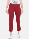 Women's Cotton Lycra Red Regular Fit Pants Cottonworld Women's Pants