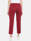Cottonworld Women's Pants Women's Cotton Lycra Red Regular Fit Pants