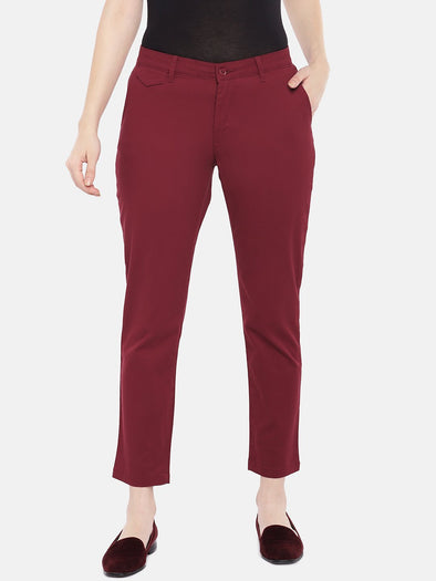 Cottonworld Women's Pants Women's Cotton Lycra Red Straight Fit Pants