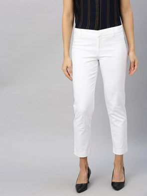 Women's Cotton  Lycra White A Regular Fit Pants Cottonworld Women's Pants