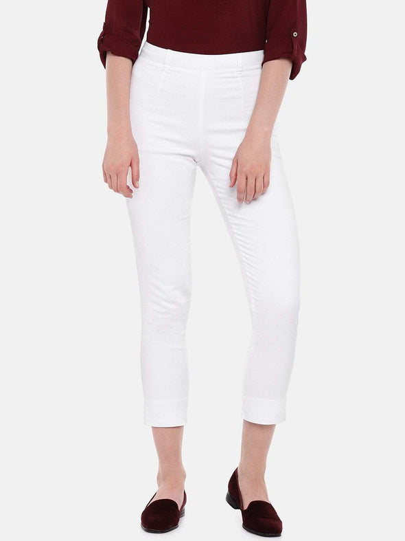 Cottonworld Women's Pants Women's Cotton Lycra White Regular Fit Pants