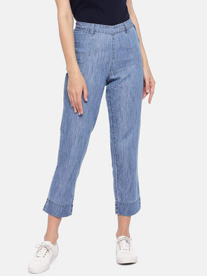 Women's Cotton Tencel Denin Sky Regular Fit Pants Cottonworld Women's Pants