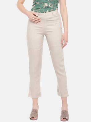 Cottonworld Women's Pants Women's Linen Beige Regular Fit Pants