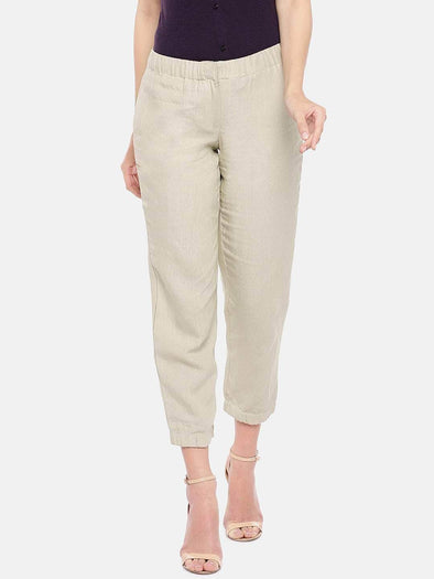 Women's Linen Beige Regular Fit Pants Cottonworld Women's Pants