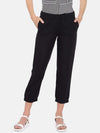 Cottonworld Women's Pants Women's Linen Black Regular Fit Pants