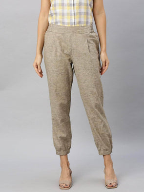 Women's Linen Cotton Khaki Regular Fit Pants Cottonworld Women's Pants