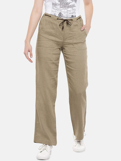 Women's Linen Khaki Regular Fit Pants Cottonworld Women's Pants