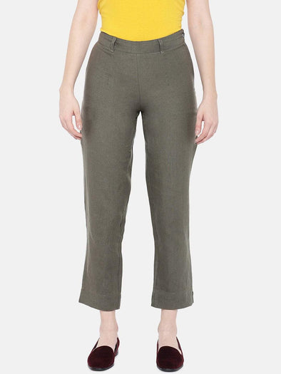 Women's Linen Olive A Regular Fit Pants Cottonworld Women's Pants