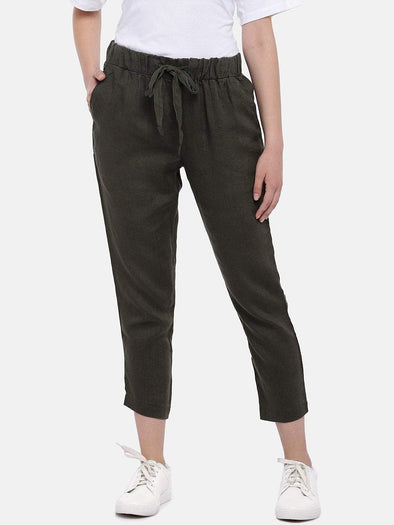 Cottonworld Women's Pants Women's Linen Olive Regular Fit Pants