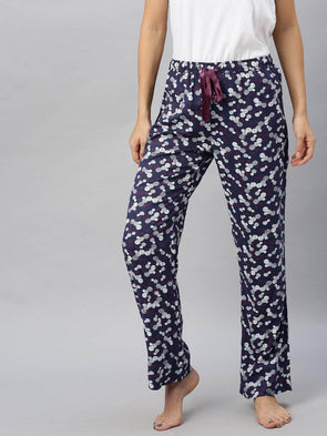 Cottonworld Women's Pants Women's Viscose Dark Blue Regular Fit Pajama