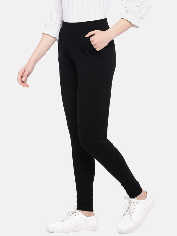 Cottonworld Women's Pants Women's Viscose Elastane Black Loose Fit Kpants