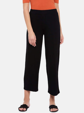 Women's Viscose Elastane Black Loose Fit Kpants Cottonworld Women's Pants