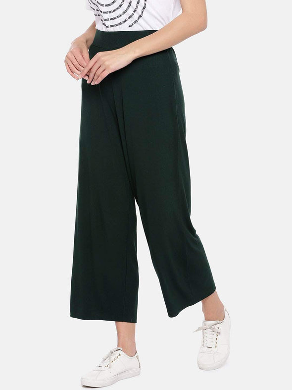 Women's Viscose Elastane Green Loose Fit Kpants Cottonworld Women's Pants