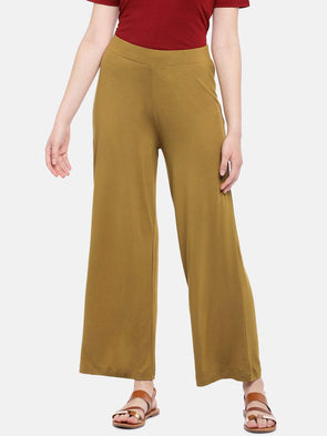 Cottonworld Women's Pants Women's Viscose Elastane Mustard Loose Fit Kpants