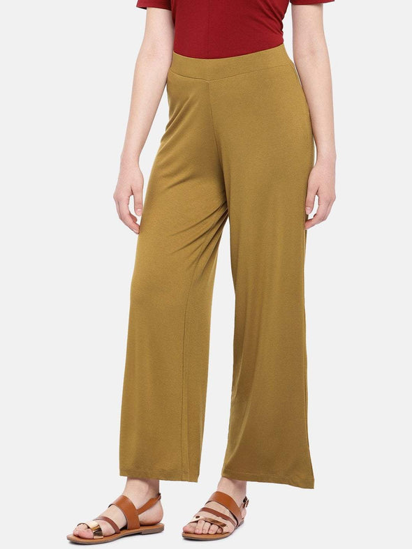 Women's Viscose Elastane Mustard Loose Fit Kpants Cottonworld Women's Pants