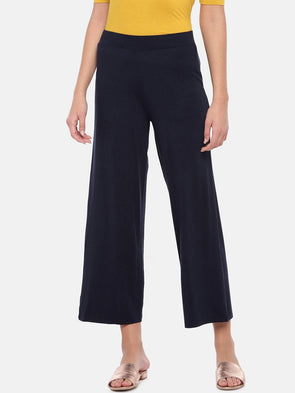 Women's Viscose Elastane Navy Loose Fit Kpants Cottonworld Women's Pants