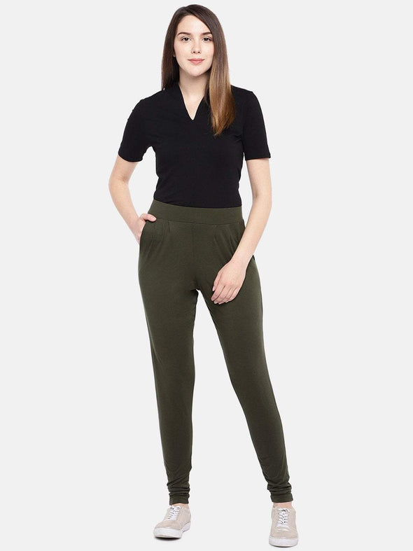 Women's Viscose Elastane Olive Loose Fit Kpants Cottonworld Women's Pants
