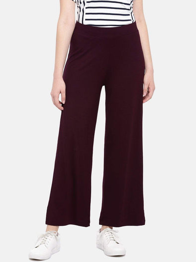 Cottonworld Women's Pants Women's Viscose Elastane Wine Loose Fit Kpants