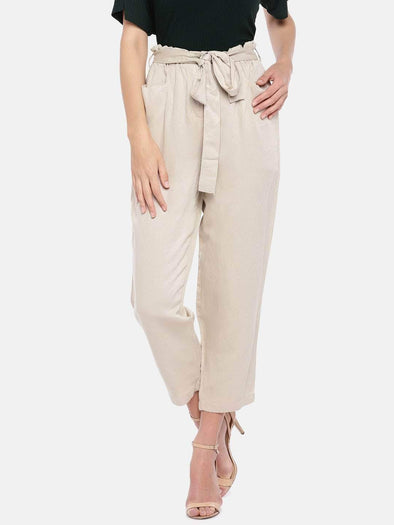 Women's Viscose Linen Khaki Regular Fit Pants Cottonworld Women's Pants