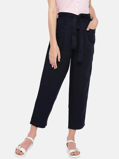 Women's Viscose Linen Navy Regular Fit Pants Cottonworld Women's Pants