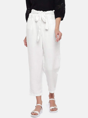 Women's Viscose Linen White Regular Fit Pants Cottonworld Women's Pants