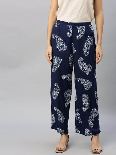 Women's Viscose Navy Regular Fit Pants Cottonworld Women's Pants