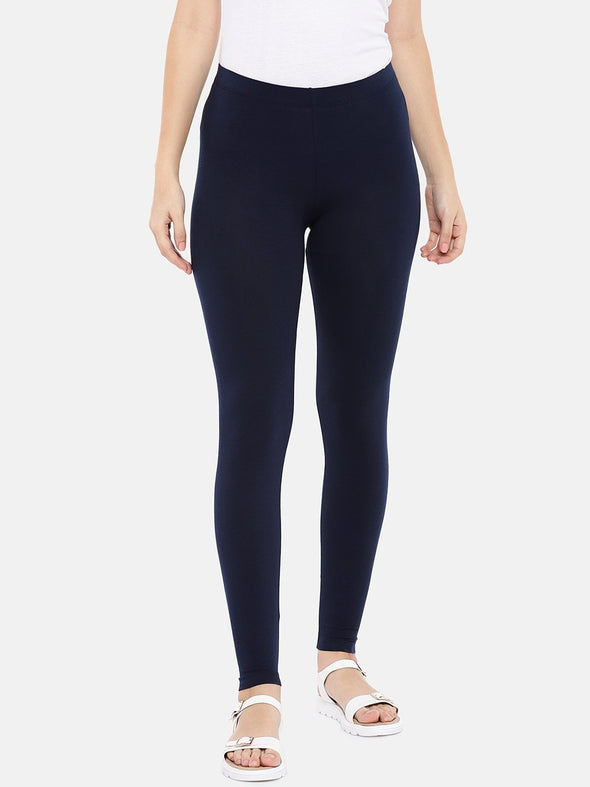 Women's Cotton Elastane Navy Regular Fit Ktights Cottonworld Women's Pants