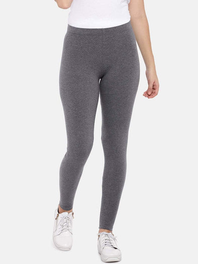 Women's Cotton Elastane Charcoal Regular Fit Ktights Cottonworld Women's Pants