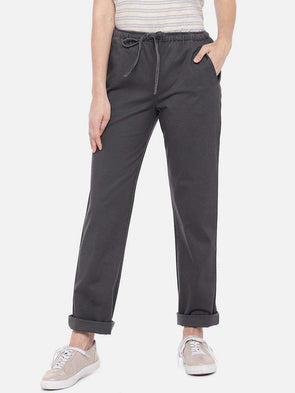 Cottonworld Women's Pants XSMALL / GREY Women's 98% Cotton 2% Lycra Woven Grey Regular Fit Pants