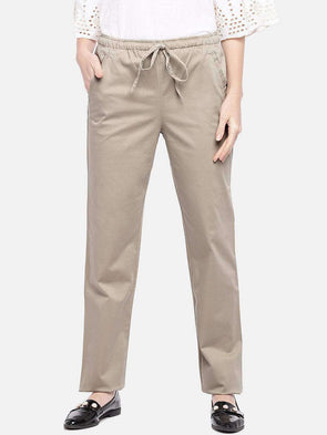 Women's Cotton Lycra Khaki Regular Fit Pants Cottonworld Women's Pants