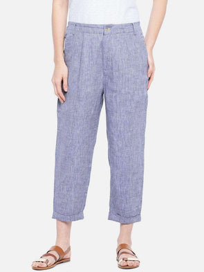 Cottonworld Women's Pants XSMALL / NAVY Women's Linen Navy Regular Fit Pants