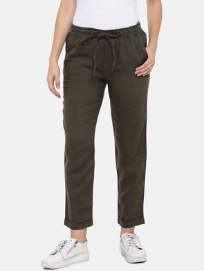 Women's Linen Woven Olive Regular Fit Pants Cottonworld Women's Pants