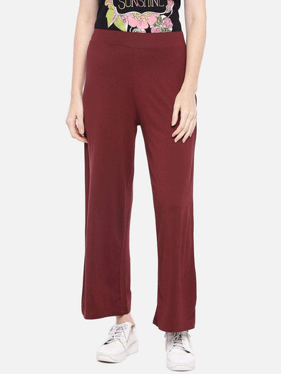 Cottonworld Women's Pants XSMALL / RUST Women's Viscose 5% Elastane Knit Rust Loose Fit Kpants
