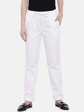 Cottonworld Women's Pants XSMALL / WHITE Women's 98% Cotton 2% Lycra Woven White Regular Fit Pants