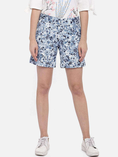 Cottonworld Women's Shorts SMALL / BLUE Women's 98% Cotton 2% Lycra Woven Sky Regular Fit Shorts