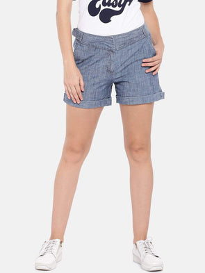 Cottonworld Women's Shorts SMALL / BLUE Women's Cotton Lycra Woven Denim Blue Regular Fit Shorts