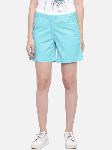 Cottonworld Women's Shorts SMALL / BLUE Women's Cotton Lycra Woven Sky Regular Fit Shorts