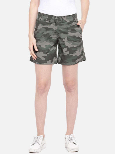 Cottonworld Women's Shorts SMALL / GREEN Women's Cotton Green Regular Fit Shorts