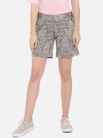 Women's Cotton Lycra Green Regular Fit Shorts Cottonworld Women's Shorts