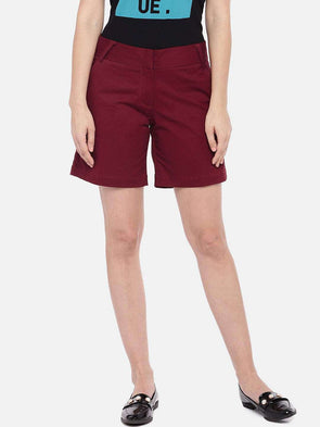 Cottonworld Women's Shorts SMALL / MAROON Women's 98% Cotton 2% Lycra Woven Wine Regular Fit Shorts