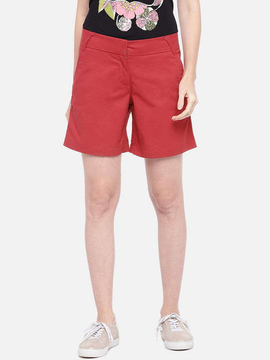 Cottonworld Women's Shorts SMALL / RED Women's 100% Cotton Woven Red Regular Fit Shorts