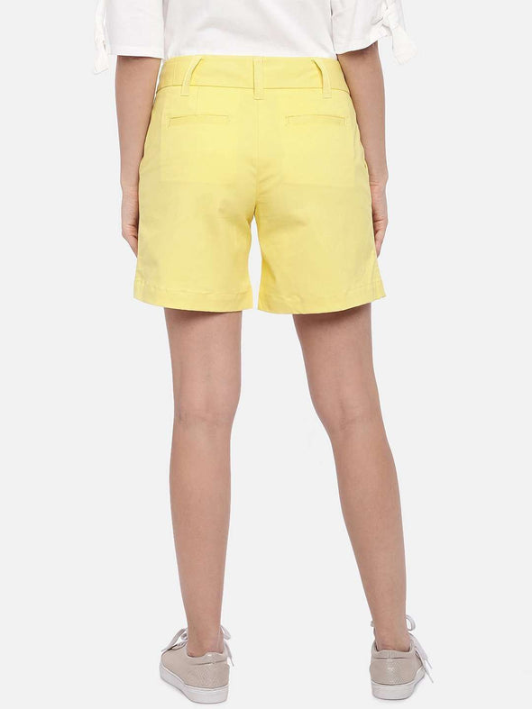 Cottonworld Women's Shorts SMALL / YELLOW Women's Cotton Lycra Woven Yellow Regular Fit Shorts
