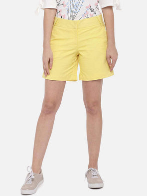 Cottonworld Women's Shorts SMALL / YELLOW Women's Cotton Lycra Yellow Regular Fit Shorts