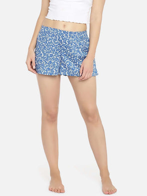 Cottonworld Women's Shorts WOMEN'S 100% COTTON BLUE REGULAR FIT BOXERS