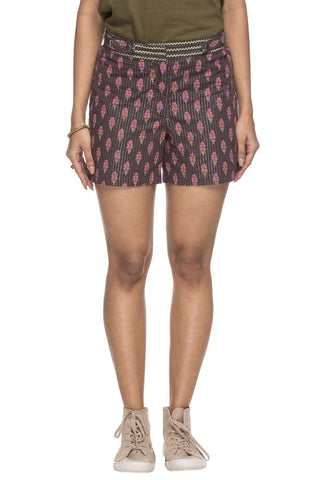 Cottonworld Women's Shorts WOMEN'S 100% COTTON BROWN REGULAR FIT SHORT